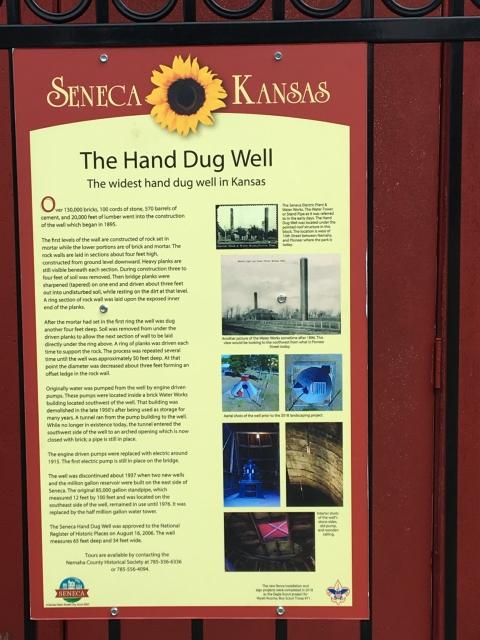 Seneca, Kansas Walking Tour Marker Hand Dug Well
