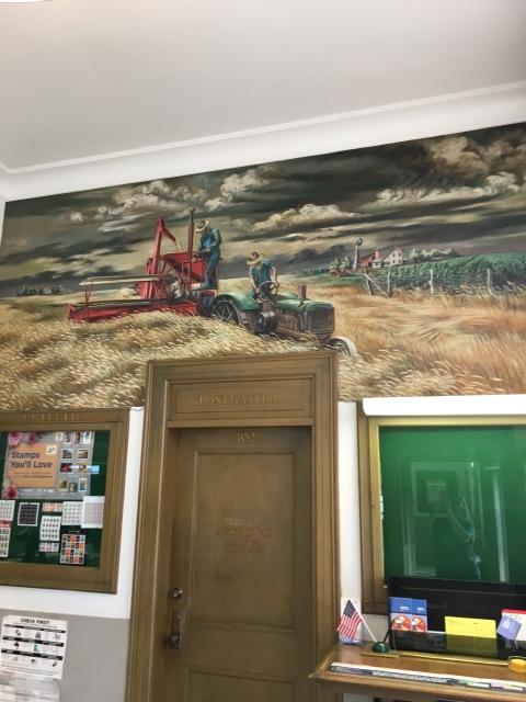 """Men and Wheat"" Mural painted by Joe Jones City of Seneca (KS) Post Office"