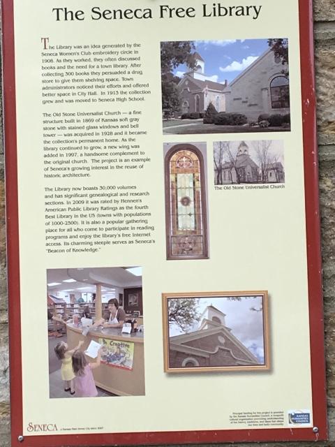 The Seneca Free Library Seneca (KS) Walking Tour Sign