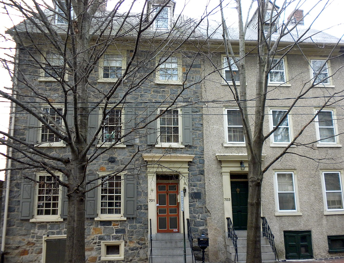 Woodward Houses (circa 1754 and 1760) located at 701-703 West St., Wilmington, Delaware.