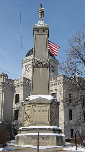 The Alexander Memorial was dedicated in 1928 and named in honor of a Civil War veteran who was active in raising funds for this all-veterans memorial.