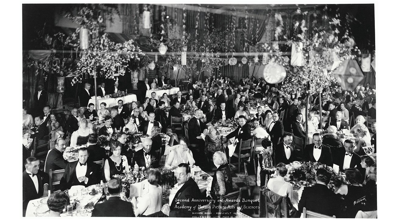 The first annual Academy Awards was held in the Blossom Ballroom of the Hollywood Roosevelt, also the then headquarters of the Academy of Motion Picture Arts and Sciences, on May 16, 1929