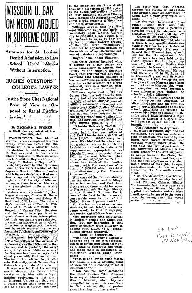 St. Louis Post-Dispatch, November 10, 1938