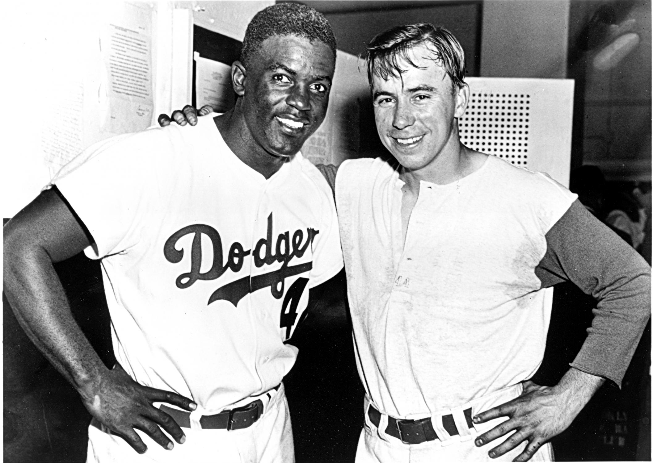 Pee Wee Reese and Jackie Robinson. Photo: National Baseball Hall Of Fame.