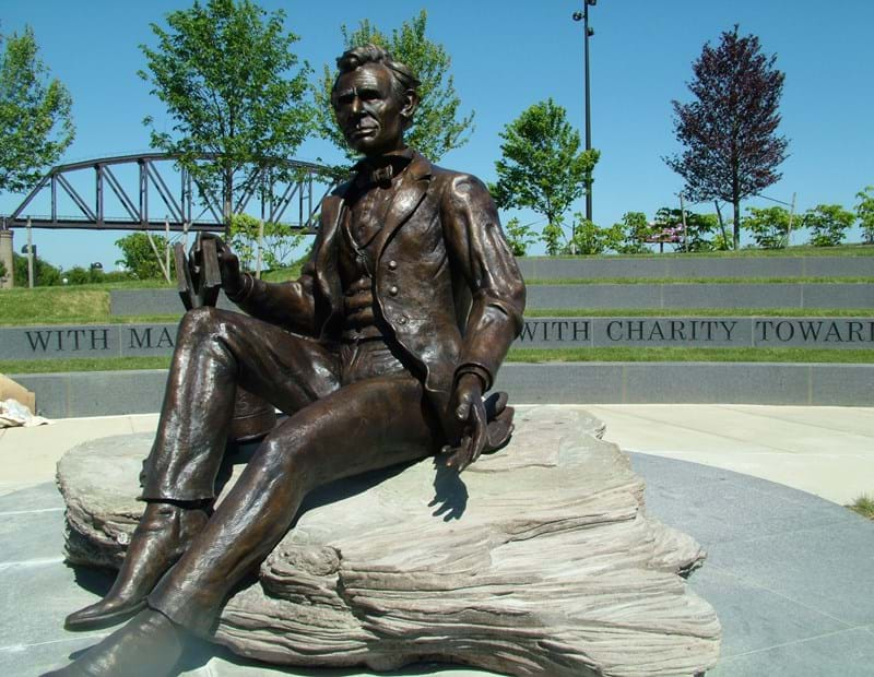 "The Abraham Lincoln statue in Waterfront Park, Louisville, Kentucky. Artist Ed Hamilton said, ""I didn't want to do another Lincoln like all the other Lincolns...I wanted [it] to be a Lincoln of the people."""