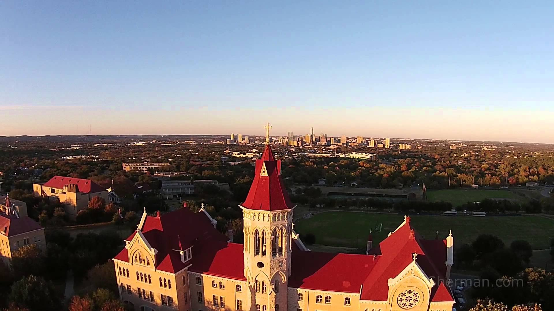 """Downtown Austin can be seen from Main Building's """"hilltop"""" location."""
