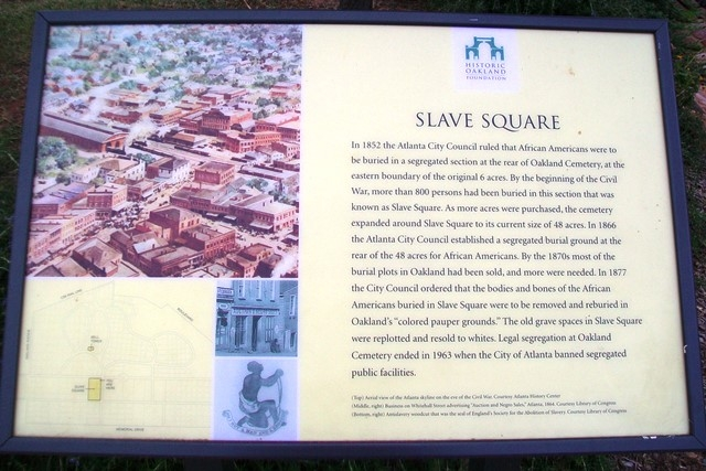 Photograph of the Slave Square Historical Marker in Oakland Cemetery.