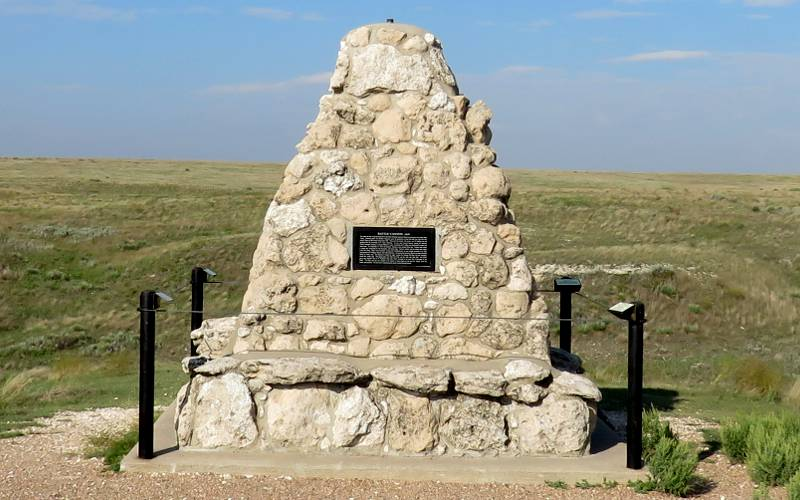 Monument at top of valley
