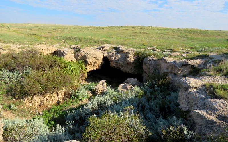 Cave where women, children, and elderly Cheyenne were hidden during battle.