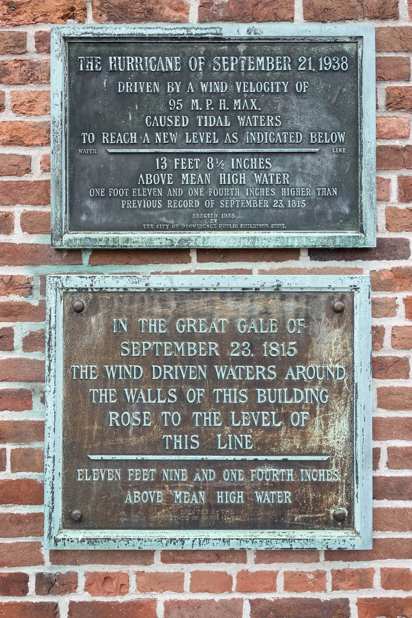 Two watermarks -- noted by two plaques -- denote to significant weather events, of which the Market House survived: a 1938 hurricane and a large storm in 1815.