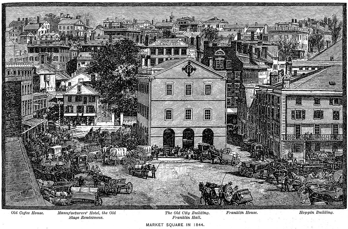 Providence's Market House & Square, 1844.