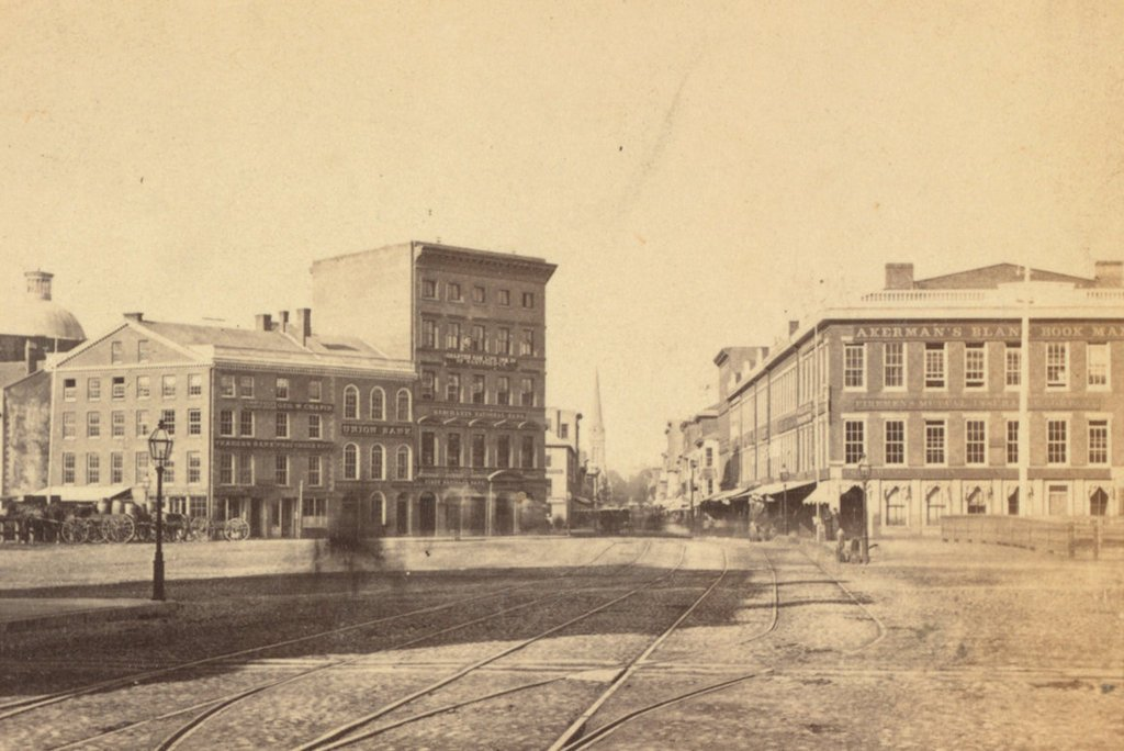Looking southwest on Westminster Street from the bridge over the Providence River, in 1865. Image courtesy of the New York Public Library.