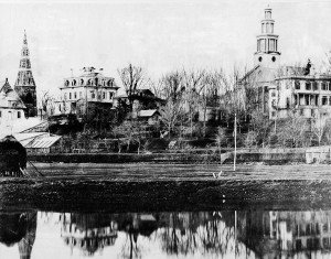 View of 19th century Medford from across the Mystic (image from Medford Historical Society)