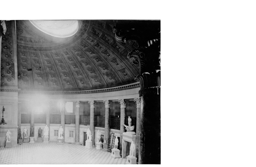 The National Statuary Hall in 1890 from the Architect of the Capitol. They had replaced the floor of the hall at Congressmen Justin Morrill's request.