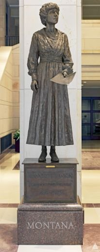 The Jeannette Rankin Statue in the Emancipation Hall in the U.S. Capitol Visitor Center.