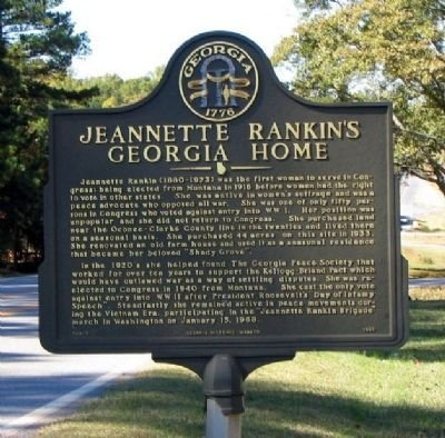 This historical marker was dedicated in 1992 and is located on property that was purchased by Jeannette Rankin in 1933.
