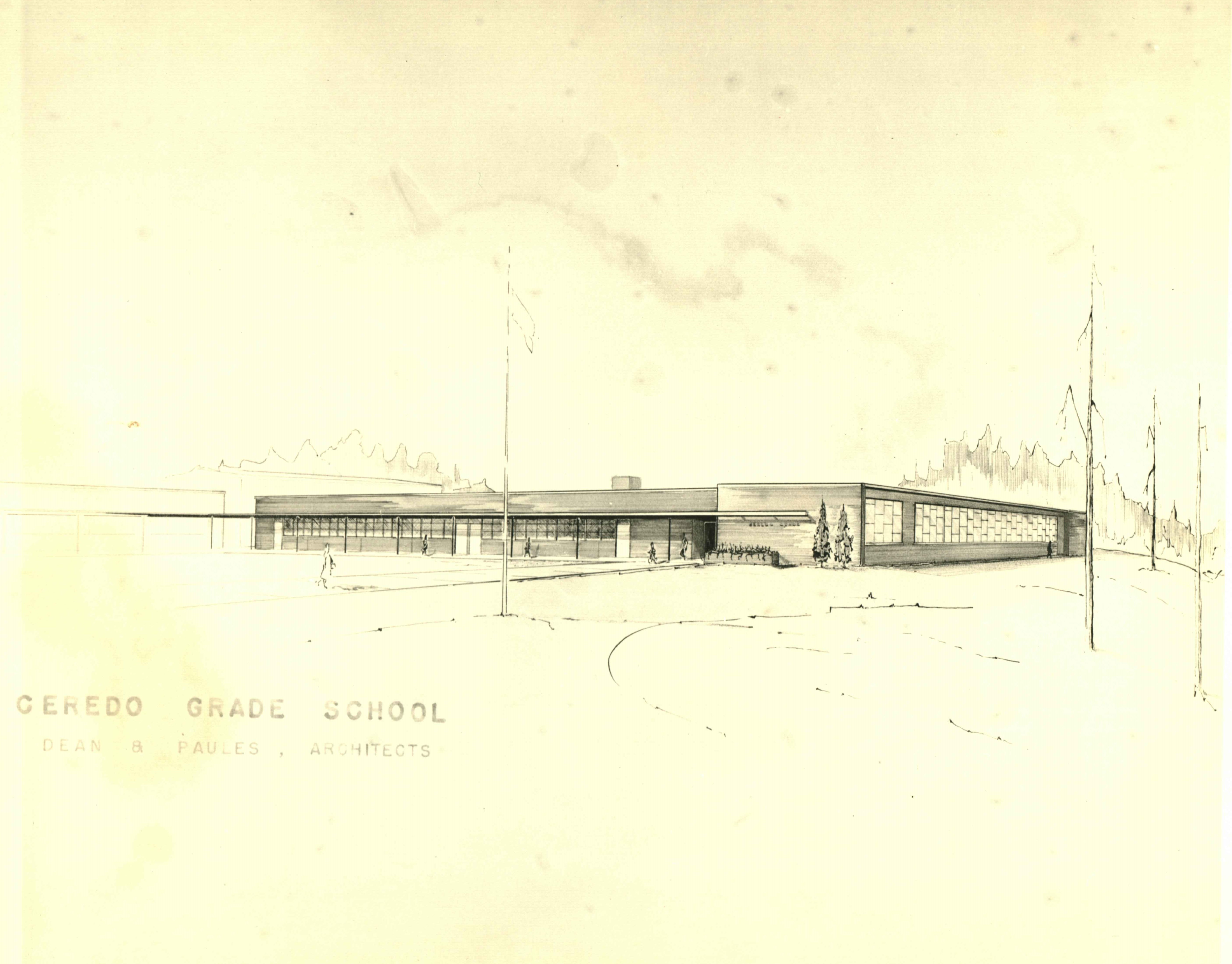 Concept art for the new Ceredo Elementary School building following the 1957 fire. Image courtesy of the Ceredo Historical Society Museum.