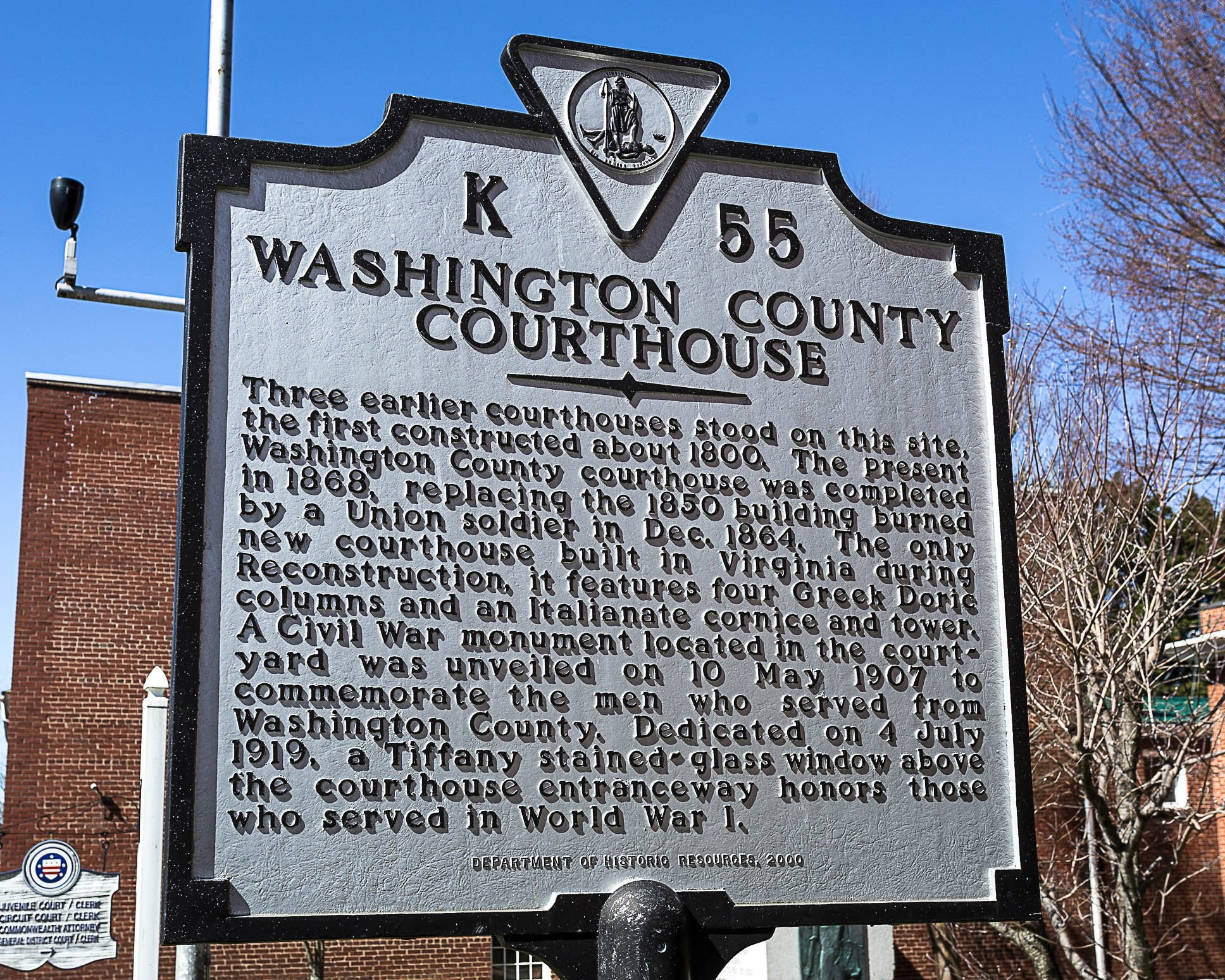 Washington County Courthouse historical marker