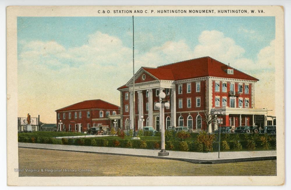 Railroad Station and C. P. Huntington Monument, circa 1927
