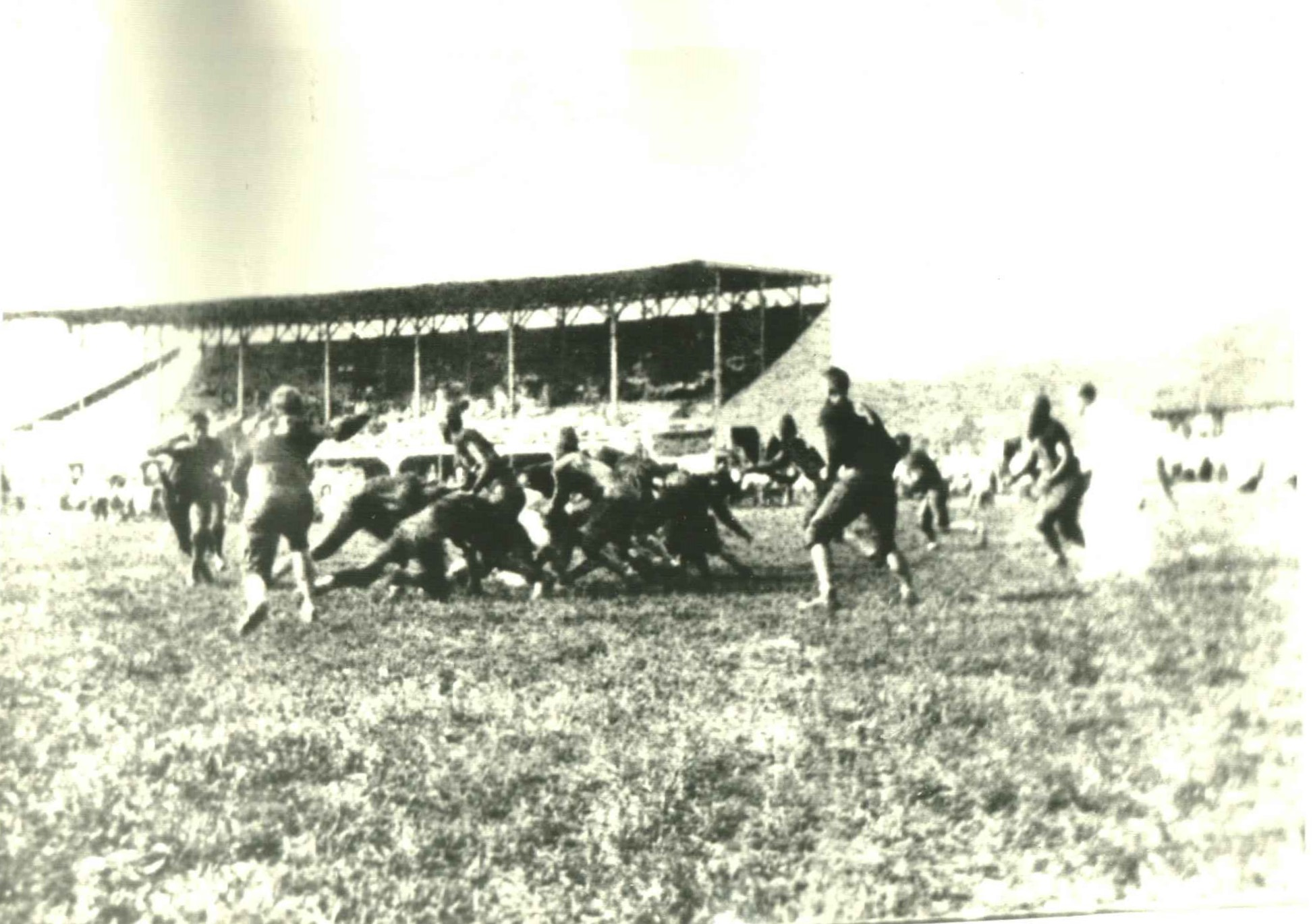 Ceredo-Kenova High School used the site of the racetrack for football games for several years after the track's closure. The massive grandstand was destroyed by a storm in 1940. Image obtained from the Ceredo Historical Society Museum.