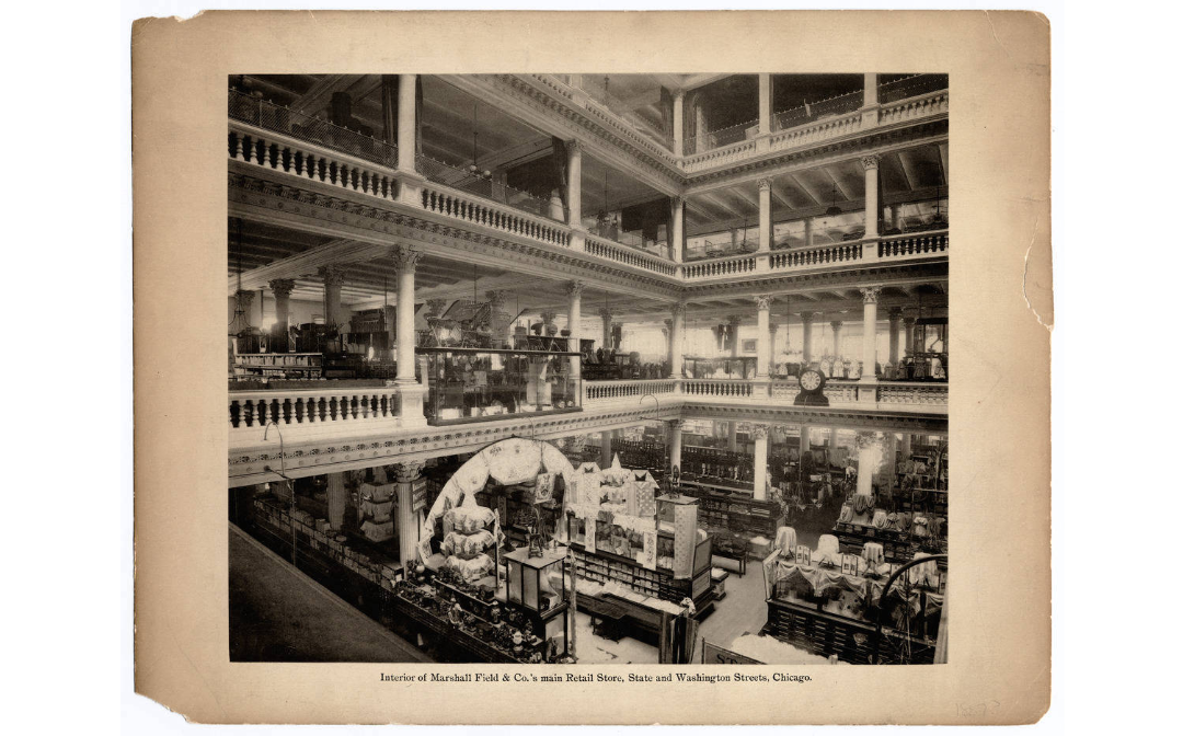 Inside the atrium of the store, circa 1900