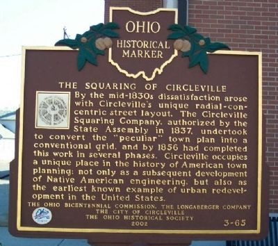 This marker tells the story of a round city moving to a standard grid in 1837
