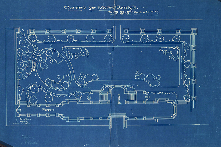 Richard Schermerhorn's designs for the Carnegie Mansion's garden.