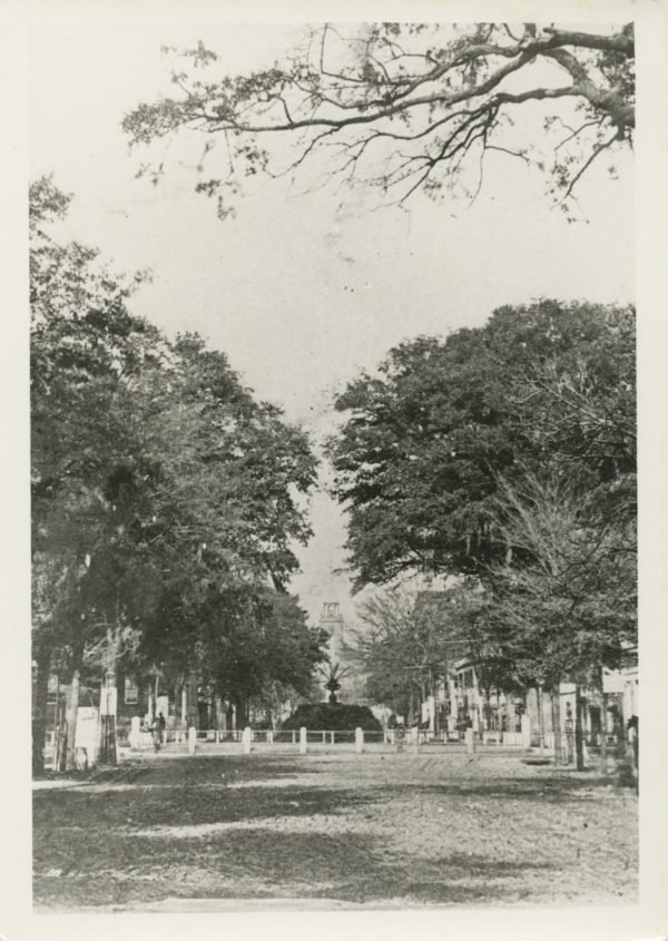 Wright Square showing the mound over Tomo Chi-Chi's grave. Retrieved from the Foltz Photography Studio Photograph Collection https://georgiahistory.pastperfectonline.com/photo/6B002F63-10A8-4B5C-8125-1902570