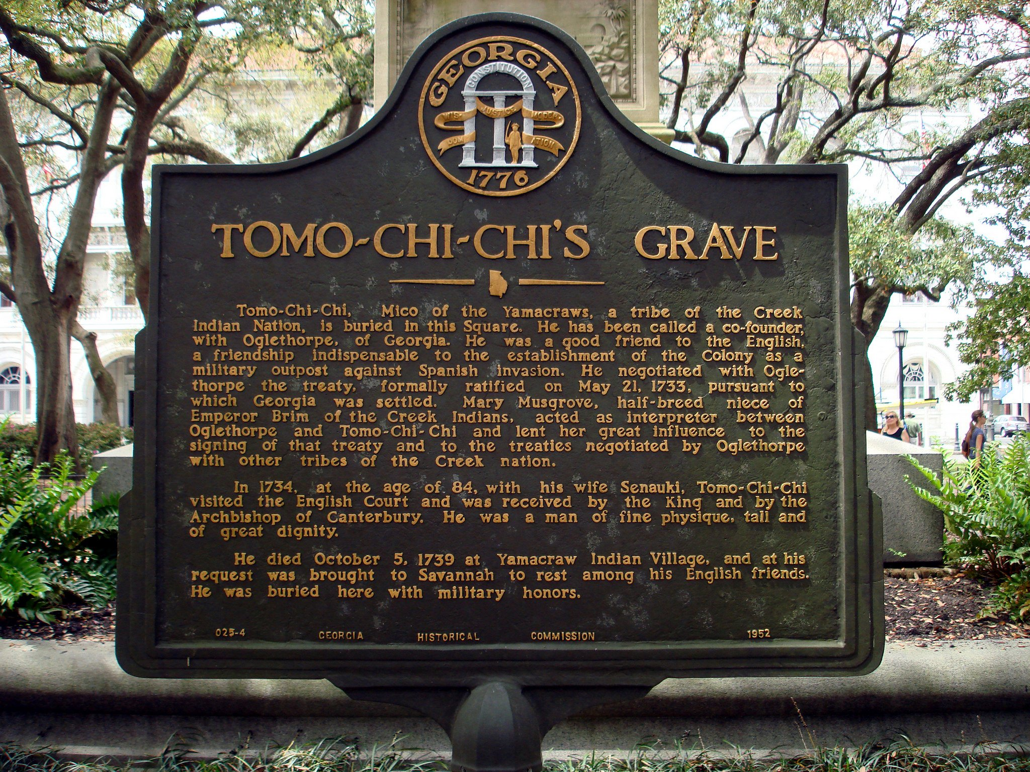 Tomo Chi-Chi's Grave Marker in Wright Square. Photo taken by Michael Karl Witzel. Retrieved From https://www.flickr.com/photos/michaelwitzel/43028443055/in/photostream/