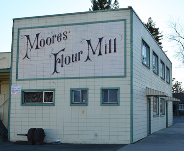 Signage at Moores' Flour Mill on Shasta Street in Redding