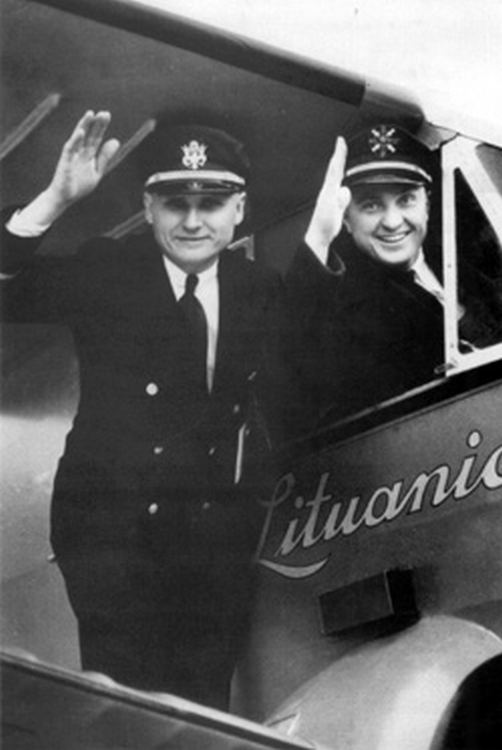 "Darius and Girėnas at the naming ceremony of their plane the ""Lituanica"" at Chicago's Municipal Airport (Midway) May, 6th 1933"