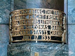 Close up of commemoration plaque - Monument to Darius and Girėnas in Marquette Park, Chicago  Photo Credit: Daiva Skuodyte