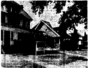 "Images from the Plain Dealer of houses on West Boulevard. The original caption read: ""Families in the two houses next to the relocation field office [3082 West Blvd], left, will be relocated in the Northwest Freeway program."""