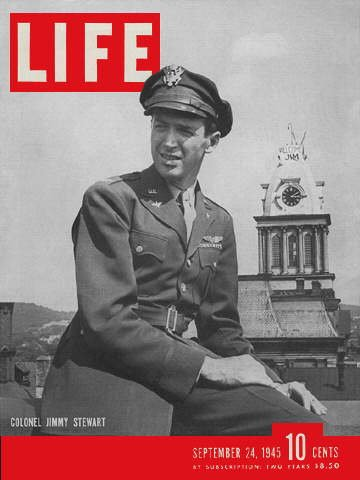 The September, 1945 cover of Life which featured Jimmy Stewart with the Old Courthouse in the background.