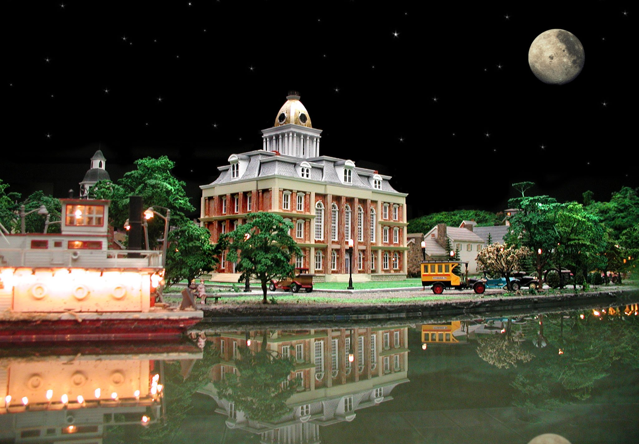 The Old Courthouse, in miniature, within the Carnegie Science Center's model railroad.