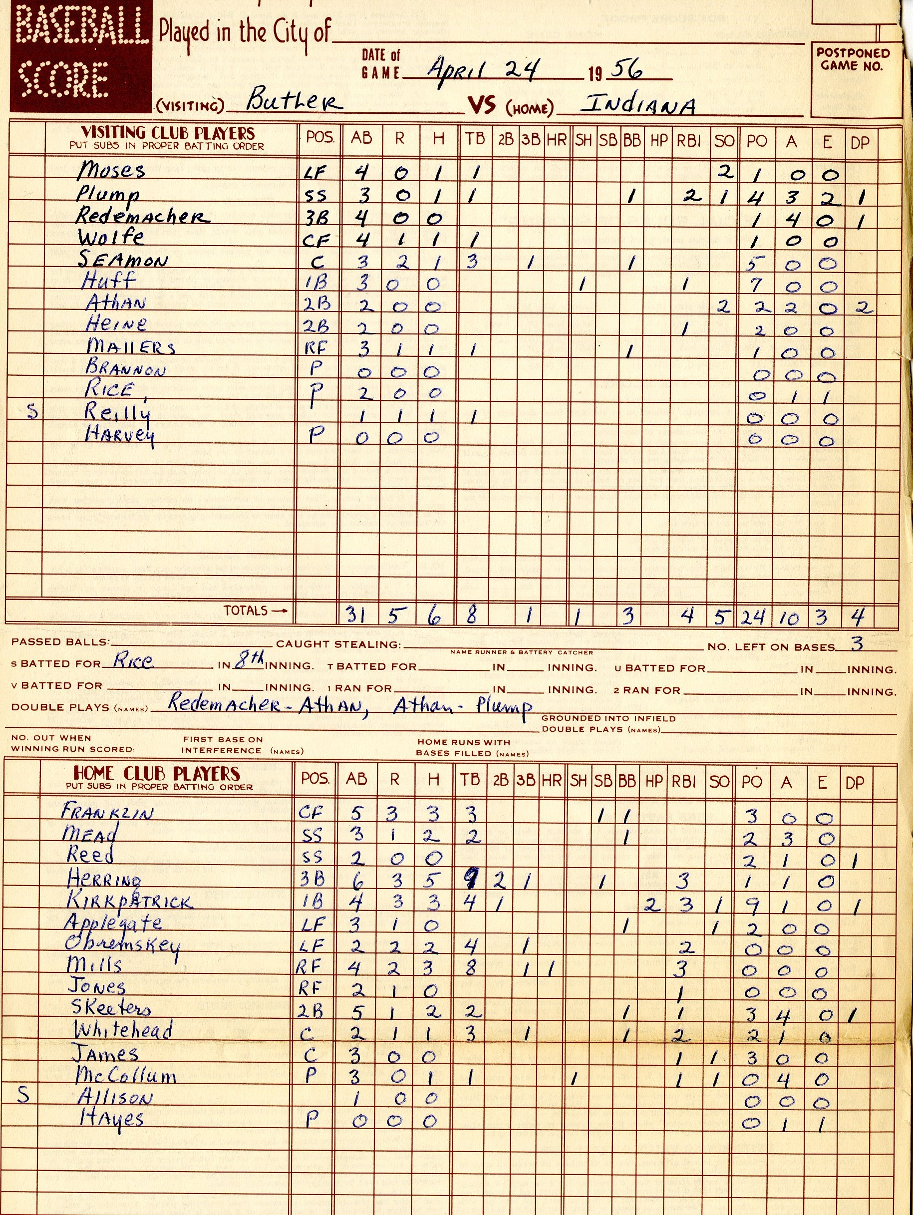 Scorecard from April 24th, 1956 vs. Butler University. Eddie Whitehead went on to play in 12 games in 1956, despite not playing on the team's spring baseball trip.