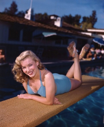 Marilyn Monroe was one of the many Hollywood stars who frequented the Racquet Club during its hey-day, she is pictured here modeling by the pool in 1949