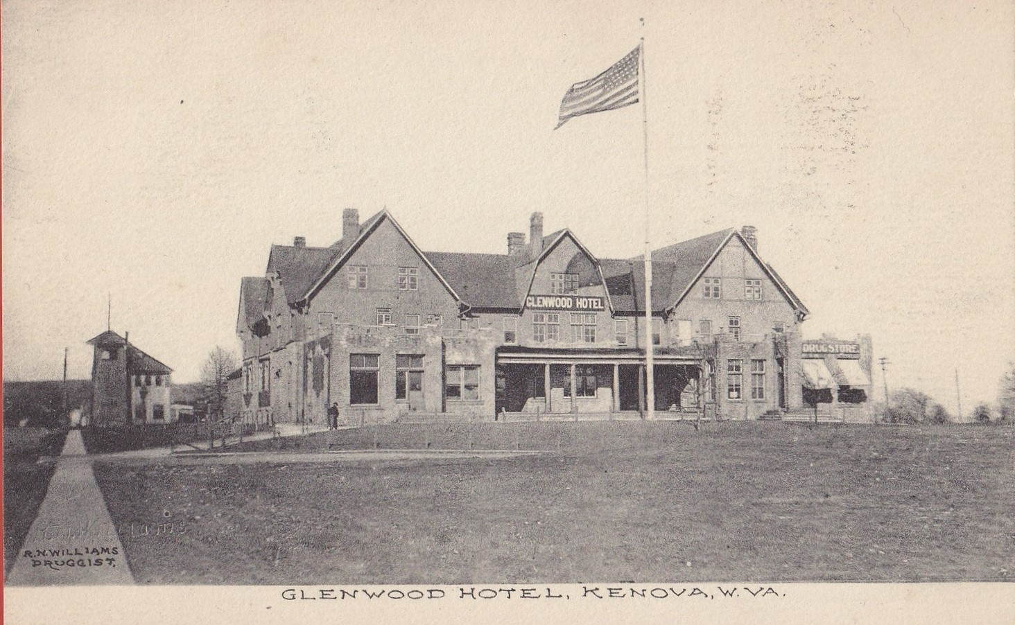 Postcard of the Glenwood Hotel. The R. Ney Williams Drugstore can be seen on the right. Image courtesy of the Kenova Historical Commission.