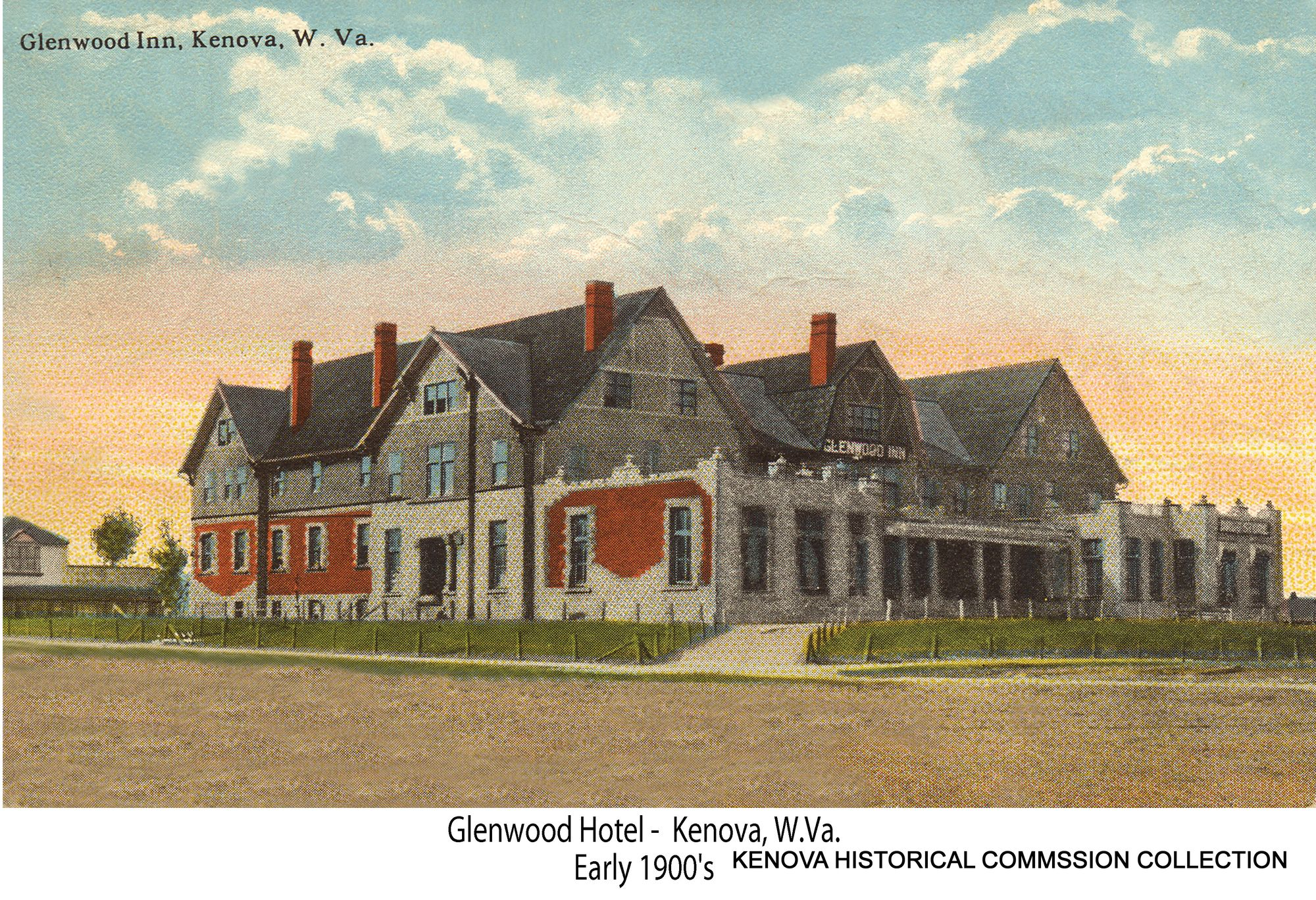Color postcard of the hotel, this time with the name Glenwood Inn. Image courtesy of the Kenova Historical Commission.