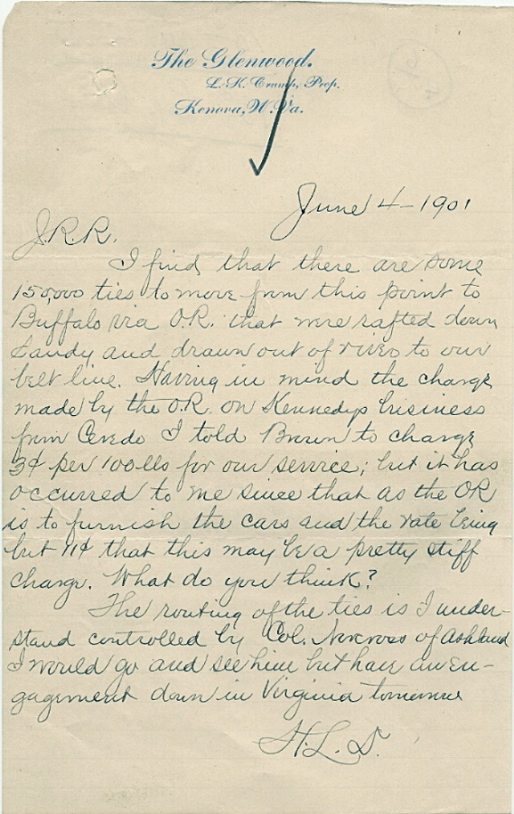 Letter written on Glenwood Hotel stationery, 1901. Image courtesy of the Kenova Historical Commission.