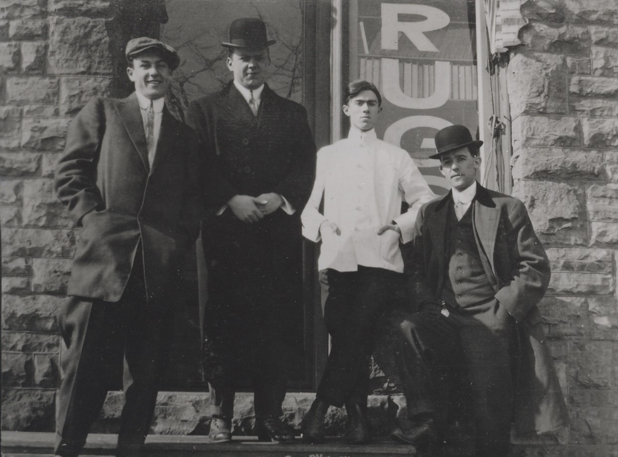 Unidentified group of men in front of the R. Ney Williams Drugstore at the Glenwood. The store would later move and evolve into today's Griffith & Feil. Image courtesy of the Kenova Historical Commission.