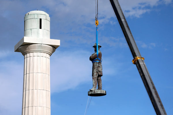 The Robert E. Lee Monument being removed on May 19, 2017 in New Orleans, Louisiana.