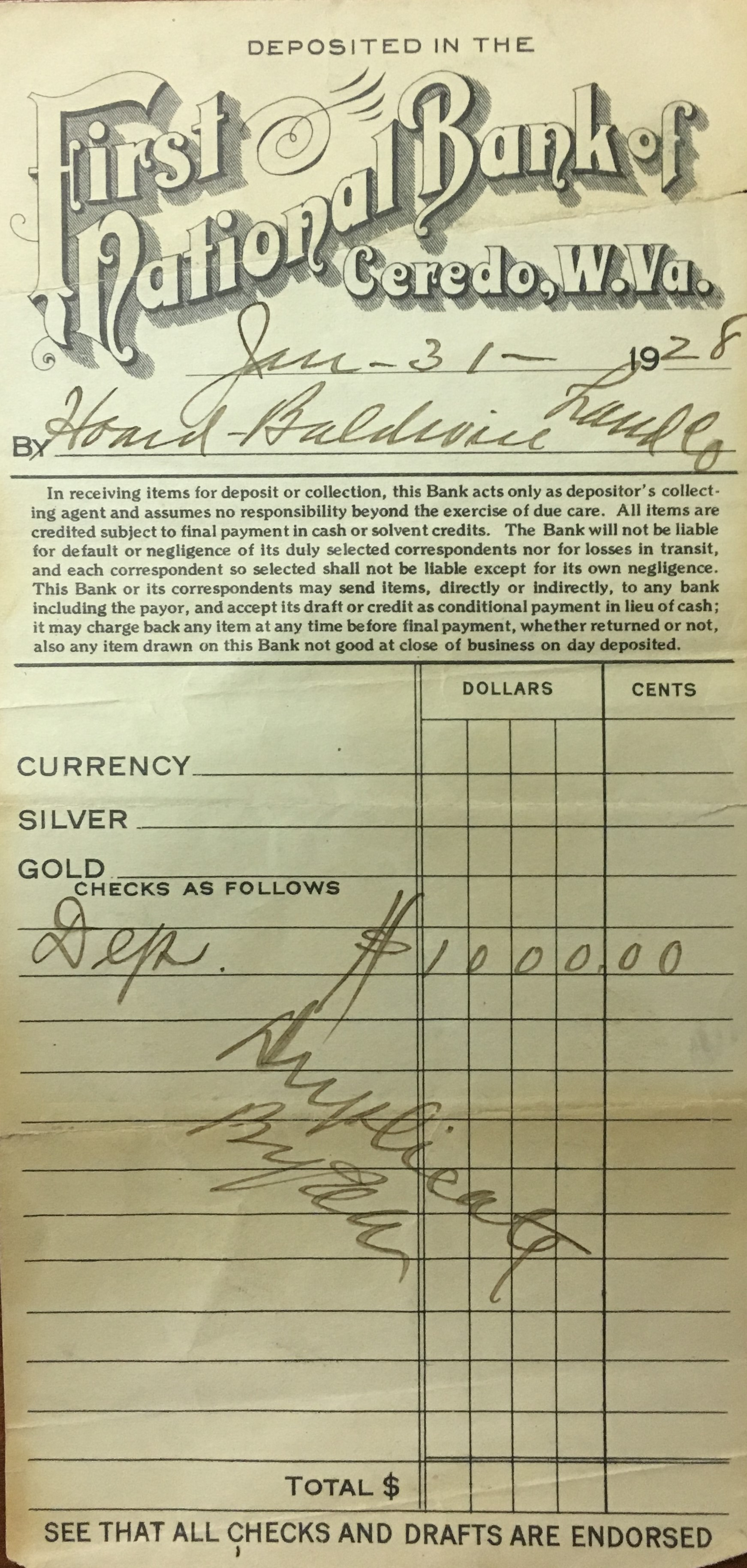 Deposit receipt from the Ceredo Bank, 1928. Courtesy of the Ceredo Historical Society Museum.