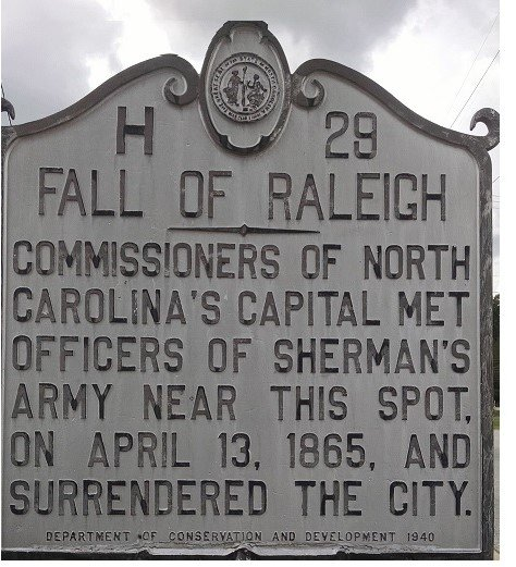 Historical marker indicating the location of the surrender of Raleigh NC.