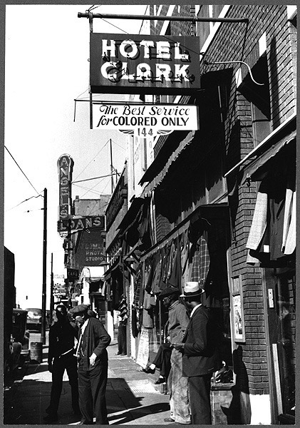 """Hotel Clark, The Best Service for Colored Only."" Photo by Marion Post, 1939. This photo is held by the Library of Congress"