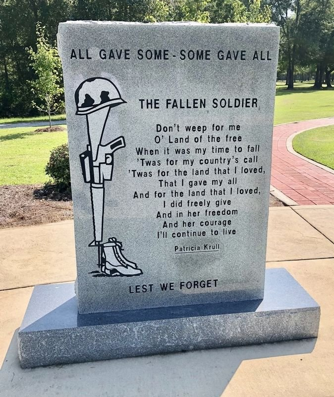 Photo of the reverse side of the War on Terrorism marker. Taken by Mark Hilton, August 22, 2018.
