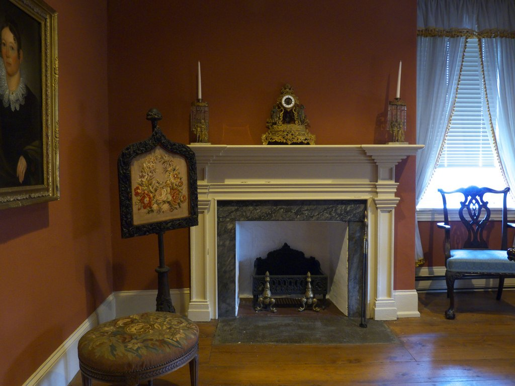 The restored parlor within Trout Hall, to include one of its numerous fireplaces.