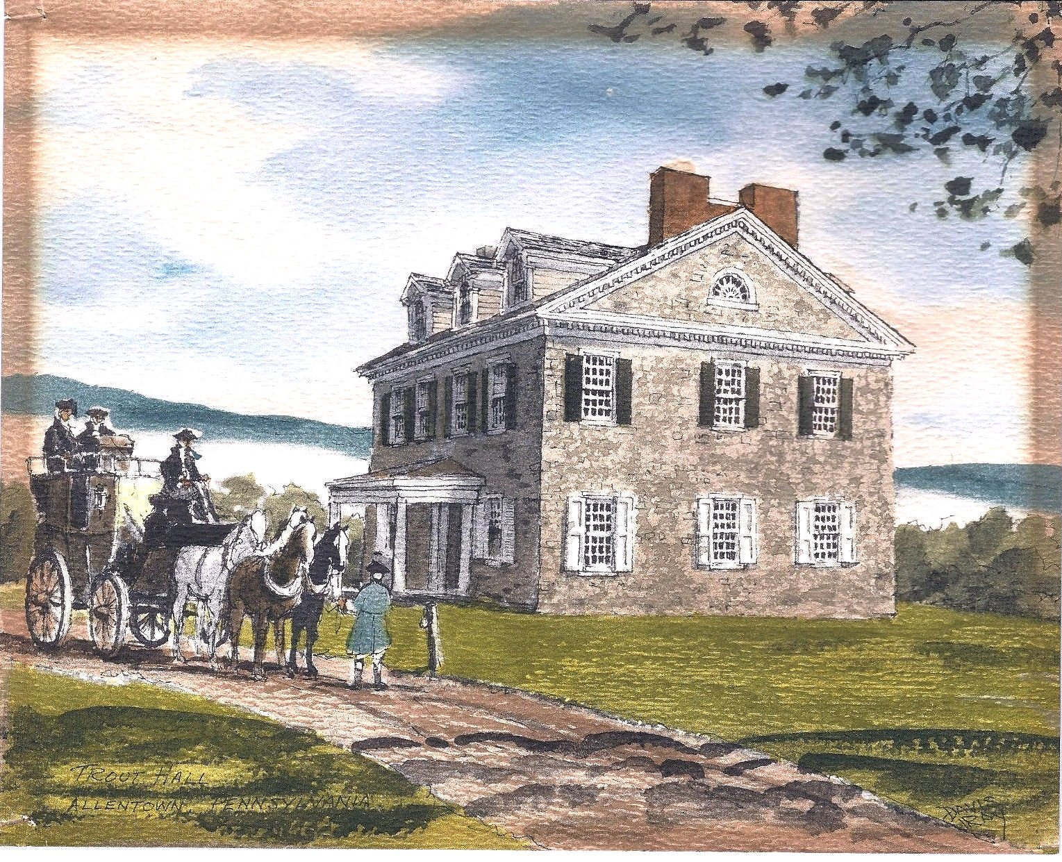 An artist's rendition of Trout Hall during the Colonial Era.