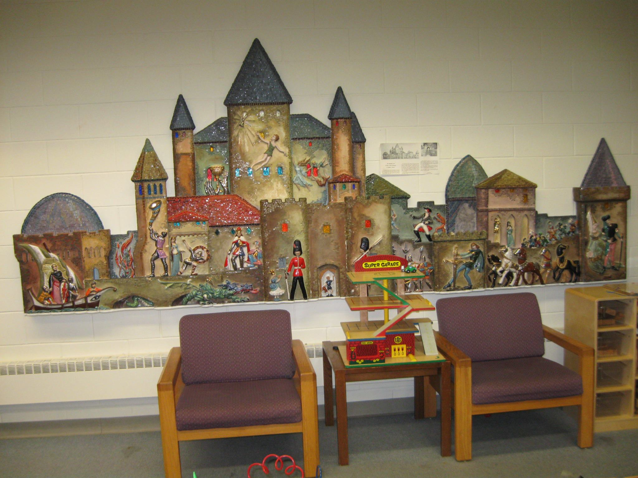 Storybook Castle, Josephine Mather Aull, ceramic mural.