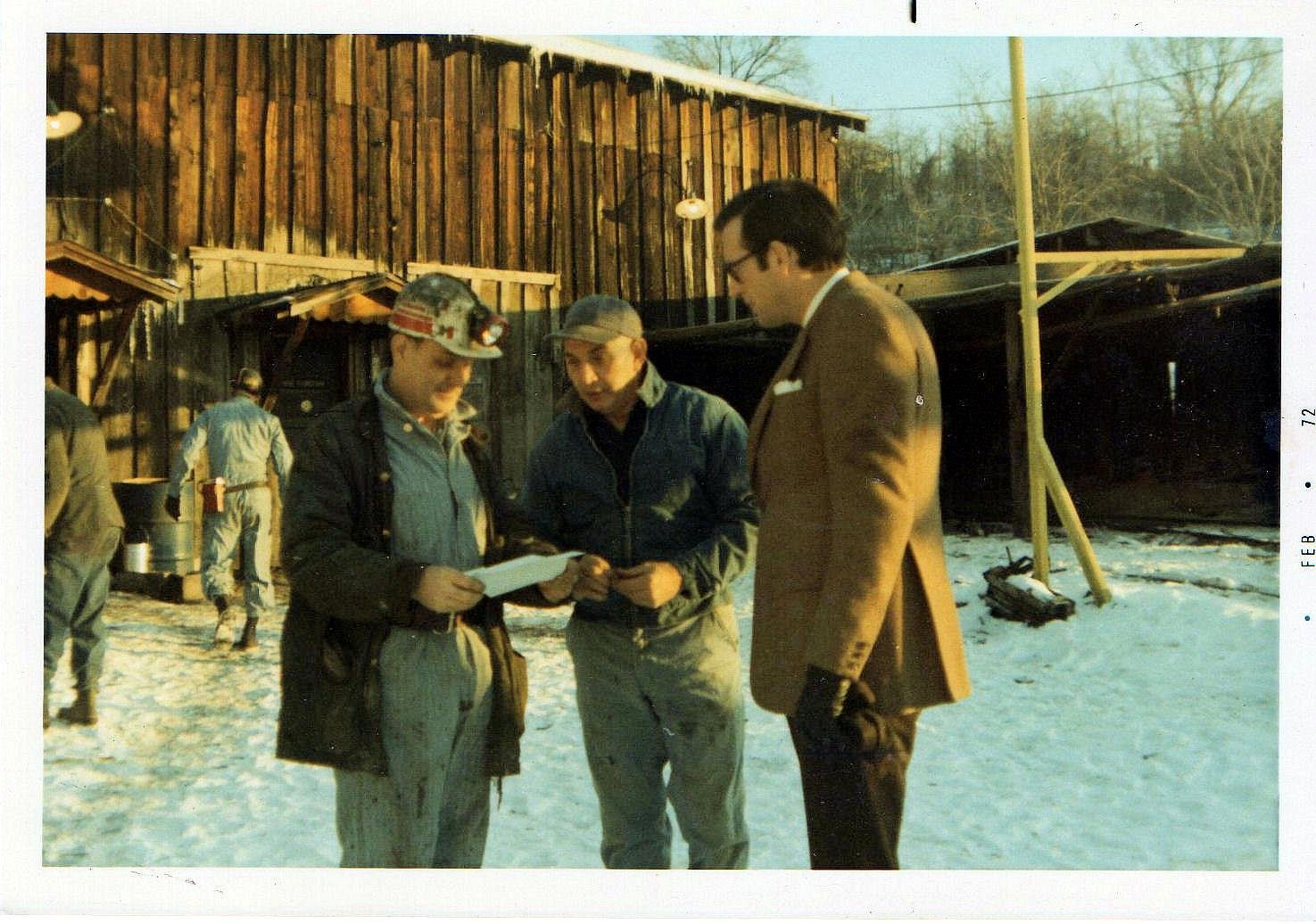 "John D. Rockefeller, IV campaigning for governor at Siltix Mine, Mt. Hope, WV 1972 photo taken by Shirley Love. Left to right Adrian Keeney, ""Buster"" Vandall, Governor Jay Rockefeller"